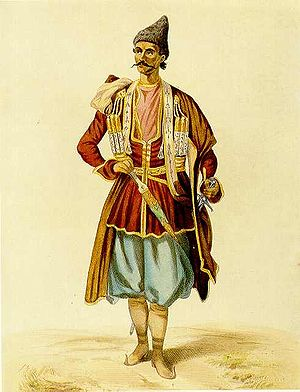 Azerbaijani traditional clothing - Tatar (Azerbaijani) bey from Karabakh. Photographer G.Gagarin