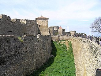 Stone wall - Defensive stone wall and moat in Fortress of Akkerman in Bilhorod-Dnistrovskyi, Ukraine
