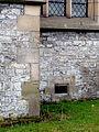 Bench mark, old school house, Whittington (geograph 2257117).jpg