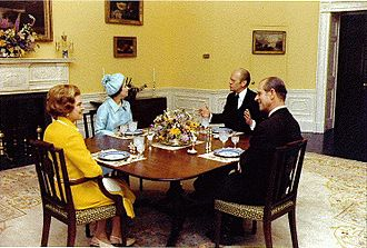 United States Bicentennial - First Lady Betty Ford, with President Ford, Queen Elizabeth II and Prince Philip in the President's Dining Room in conjunction with a 1976 state visit during the U.S. Bicentennial.