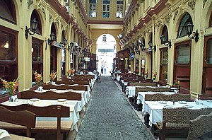 Çiçek Pasajı - The row of restaurants facing the main entrance on İstiklal Avenue