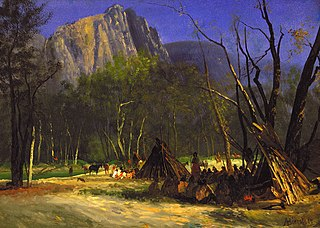 <i>Indians in Council, California</i> Painting by Albert Bierstadt