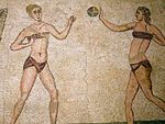 Mosaic of girls in bikini playing with a ball.