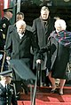 Billy Graham, George H. W. Bush, and Barbara Bush arriving at prayer breakfast.jpg