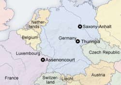 059ca3e58 Map showing the locations of Assenoncourt, Thuringia, and Saxony-Anhalt