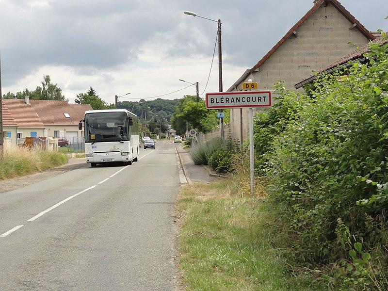 Blérancourt (Aisne) city limit sign