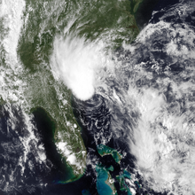 A disorganized Tropical Storm Bonnie positioned southeast of South Carolina on May 28