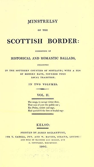 Minstrelsy of the Scottish Border - The title-page of volume 2 of the first edition