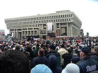 Patriot fans rally in front of Boston City Hall following the 2004 Super Bowl XXXVIII championship