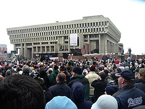 Boston City Hall Plaza - 2004 rally to celebrate New England Patriots victory in Super Bowl XXXVIII
