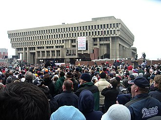 New England Patriots - Patriot fans rally in front of Boston City Hall following the Super Bowl XXXVIII championship.