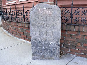 "1767 Milestones - The ""Parting Ways"" stone in Roxbury"