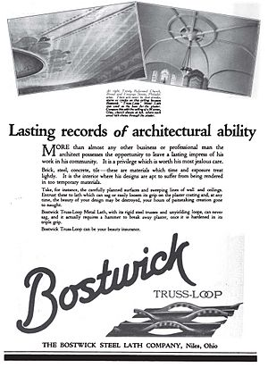Lath - Bostwick Steel Lath Company advertisement for steel truss loop type metal lath in 1920