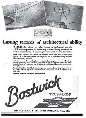 Lath - Bostwick Steel Lath Company advertisement for steel truss loop type metal lath in 1920