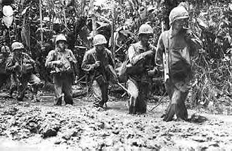 2nd Battalion, 9th Marines - Marines trudge forward through calf–deep mud on the Numa Numa Trail, Bougainville—November 1943
