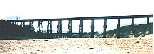 Wonthaggi railway line - Bourne Creek trestle bridge, c.1989, prior to conversion to a rail trail bridge