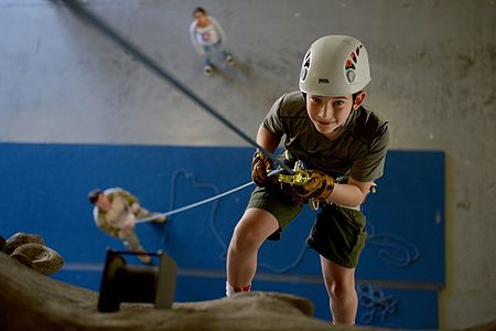 Boy Scouts earn their climbing merit badge with the 22nd STS 150418-F-QH100-083.jpg