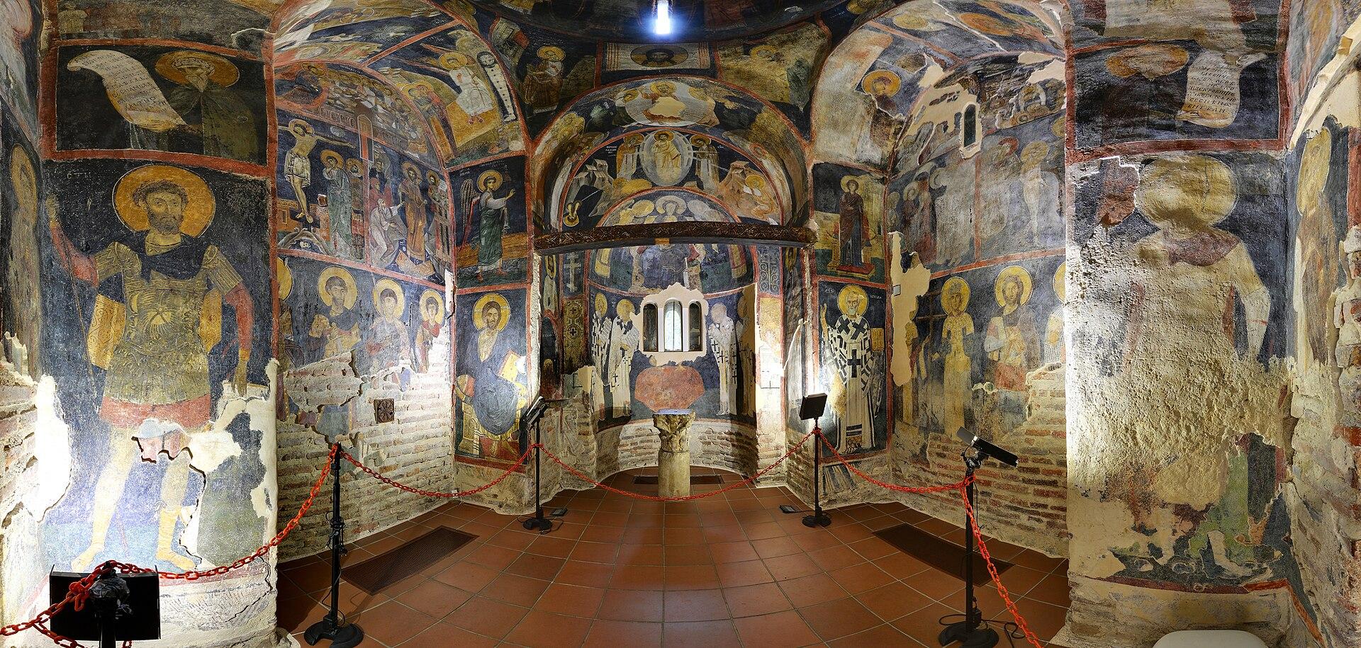 Inside frescoes dating back to 1259, Boyana Church in Sofia, UNESCO World Heritage List landmark.