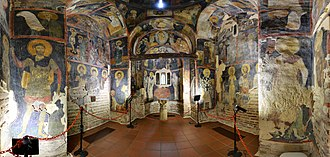 History of Sofia - Interior view with the frescoes dating back to 1259, Boyana Church in Sofia, UNESCO World Heritage List landmark.