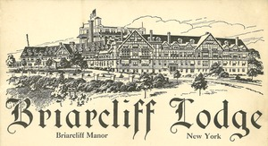 Postcard illustration of a large Tudor Revival resort