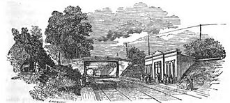 Boston Landing station - 1847 woodcutting of the first Brighton station in Winship Gardens