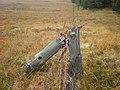 Broken post on moorland - forest boundary fence - geograph.org.uk - 1536499.jpg