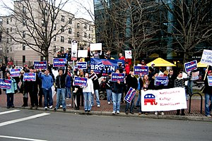 2010 in the United States - January 19: Supporters of Republican candidate Scott Brown in Massachusetts' special election. Brown's victory in Massachusetts continued a pattern of conservative victories for public office and gave the GOP their 41st senator.