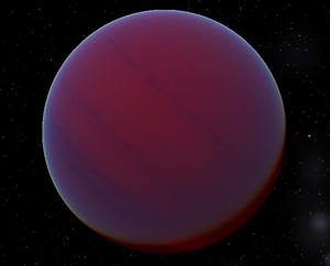 Super-Jupiter - An artistic concept of HD 29587 B a brown dwarf orbiting the star HD 29587, estimated to be about 55 Jupiter masses.
