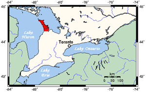 Bruce Peninsula - Map of Southern Ontario showing Bruce Peninsula in red.