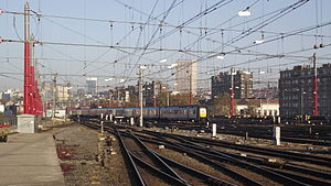 Overhead line - Brussels-South, overhead wires suspended across multiple tracks.