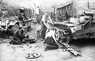 Battles of Rzhev - A German half-track is repaired near Vyazma