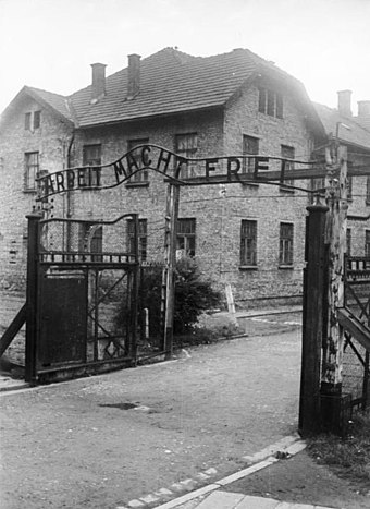 January 27: The Soviet Red Army liberates Auschwitz. Bundesarchiv Bild 183-32279-007, KZ Auschwitz, Eingang.jpg