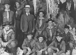 Scouting in Arizona - Major Burnham with BSA Troop, Carlsbad Caverns, 1941