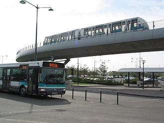 An elevated light metro section Bus et metro station Poterie (5618280569).jpg