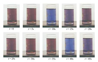 Chemical oscillator - A stirred BZ reaction mixture showing changes in color over time