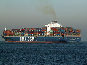 CMA CGM Balzac pic3, leaving Port of Rotterdam, Holland 23-Jan-2006.jpg