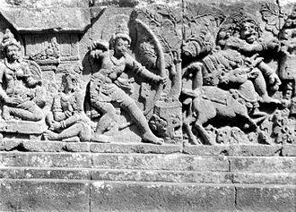 Maricha - A fresco in Prambanan temple depicting Rama killing Maricha as the golden deer, as it turns back into his demonic form.
