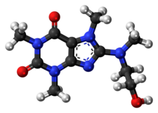 Ball-and-stick model of the cafaminol molecule