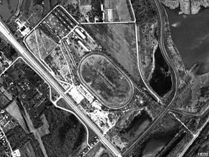 Cahokia Downs - Aerial view of the track from 1998