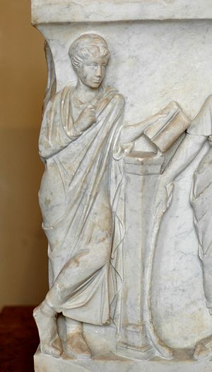 Calliope, muse of epic poetry, holding a volum...