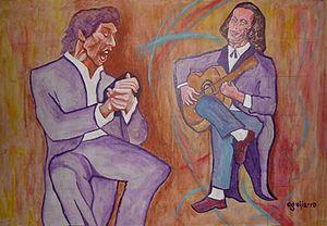 Paco de Lucía - With Camarón de la Isla in a painting by Antonio Guijarro Morales