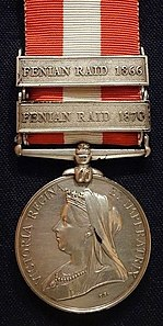 Canada General Service Medal, awarded to Pte. Allan Poyntz Patrick, Queen's Own Rifles, for the Fenian Raids of 1866 and 1870 - Glenbow Museum - DSC00634.JPG