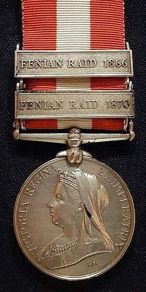 Canada General Service Medal - Image: Canada General Service Medal, awarded to Pte. Allan Poyntz Patrick, Queen's Own Rifles, for the Fenian Raids of 1866 and 1870 Glenbow Museum DSC00634