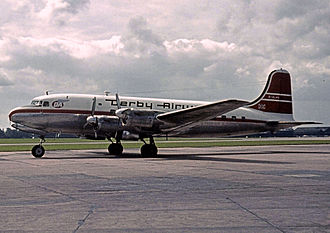 British Midland International - Canadair C-4 Argonaut G-ALHS of Derby Airways at Manchester Airport on 20 August 1962.