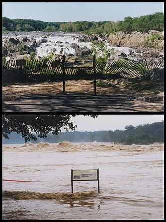 Chesapeake and Ohio Canal National Historical Park - Summer Flooding before and after in 1996