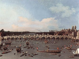 1746 in art - Image: Canaletto Westminster Bridge 1747