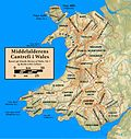 Kort over cantrefi i middelalderens Wales.