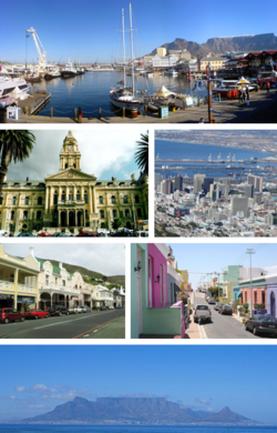 Top: V&A Waterfront. Centre left: Cape Town City Hall. Centre right: Central Cape Town. Middle left: Simon's Town. Middle right: Bo-Kaap historical Malay quarter. Bottom: Table Mountain as seen from Bloubergstrand.