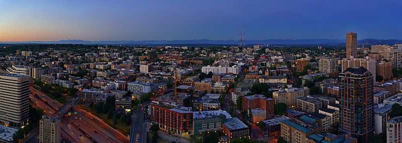 Panorama of Capitol Hill during blue hour, as seen from the 40th floor of 1525 9th Ave.