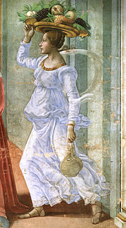 Un'ancella con due fiaschi legati al polso: particolare della Nascita di Giovanni Battista - Ciclo di affreschi (1485-1490) del Ghirlandaio, Cappella Tornabuoni Santa Maria Novella – Firenze.